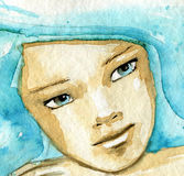 Blue woman Royalty Free Stock Photography