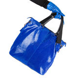 Blue women bag at hand Royalty Free Stock Image