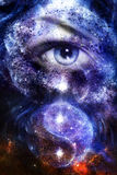 Blue women eye , with space and stars, with simbol yin yang, abstract painting collage. Royalty Free Stock Images