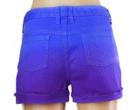 Blue women jeans shorts. Stock Photo