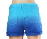 Blue women jeans shorts. Stock Photos