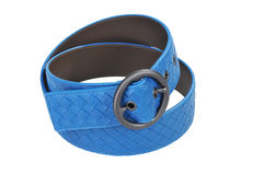 Blue women leather belt. Isolated on white Royalty Free Stock Images