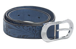 Blue Women's leather belt, isolated Stock Photos