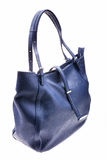 Blue womens bag isolated on white background. Royalty Free Stock Photography