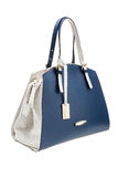 Blue womens bag isolated on white background. Royalty Free Stock Image