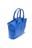 Blue womens bag isolated on white background. Royalty Free Stock Images