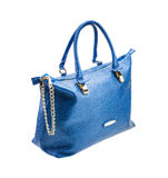 Blue womens bag isolated on white background. Stock Photos