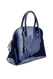 Blue womens bag  on white background. Royalty Free Stock Images