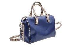 Blue womens bag  on white background. Stock Photo