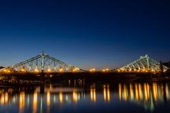 Blue Wonder in Dresden (Loschwitz Bridge) Stock Photo