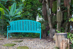 Blue wood bench Royalty Free Stock Images