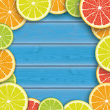 Blue Wood Centre Citrus Fruits Royalty Free Stock Photography