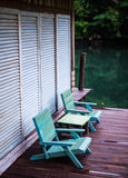 Blue wood chair Royalty Free Stock Photography