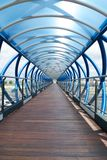 Blue and wood corridor. Corridor of bridge at Mostoles city in Madrid Spain Royalty Free Stock Image