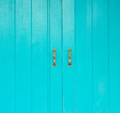 Blue wood door Royalty Free Stock Photography