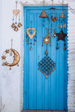 Blue wood door from Mediterranean architecture.  Royalty Free Stock Photo