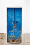 Blue wood door Mediterranean architecture Ibiza Stock Photo