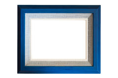 Blue wood frame with burlap texture Stock Image