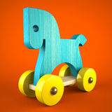 Blue wood horse toy on red background (symbol of the new year 20. 14) 3D Royalty Free Stock Photo