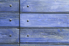 Blue wood and nails Royalty Free Stock Images