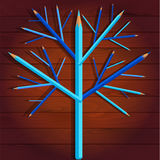 Blue wood pencils. Tree of blue and turquoise pencils on the wooden background Stock Photography