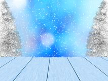 Winter design with blue wood planks. Blue wood planks, in the background blurred bokeh, snowy pine and snowfall. Space for the text royalty free illustration