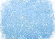 Blue wood texture with snow Stock Photos