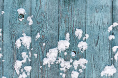 Blue wood texture with snow christmas background Royalty Free Stock Photo