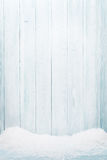 Blue wood texture with snow Royalty Free Stock Photography