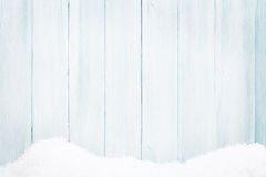 Blue wood texture with snow Stock Images