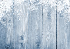 Blue Wood Texture With Snow Royalty Free Stock Images