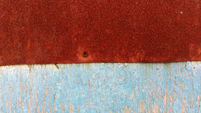 The blue wood wall. With a red old tin Stock Photos