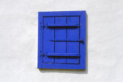 Blue wood window closed Royalty Free Stock Images
