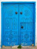 Blue wooden aged door with arch from Sidi Bou Said. In Tunisia Royalty Free Stock Image