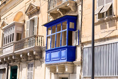 Blue wooden balcony in the Malta town Stock Photography
