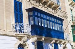 Blue wooden balcony, Malta Gozo. An old blue wooden balcony in Valletta City, Malta Stock Images