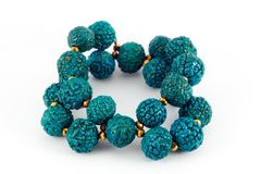 Blue wooden beads bracelet Stock Photography