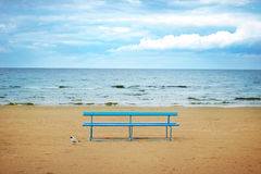 Blue wooden bench Stock Image