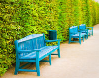 Blue wooden benches in park. Praga Royalty Free Stock Photography