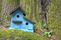 Blue wooden birdhouse Royalty Free Stock Photography