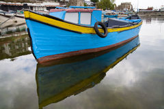 Blue wooden boat. In port of nessebar royalty free stock photography