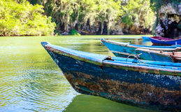 Blue wooden boats. Caribbean blue wooden boats somewhere in Dominican Republic stock photos