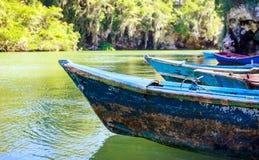Blue wooden boats Stock Photos