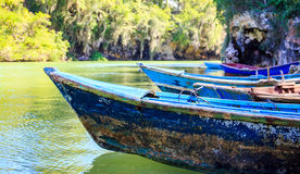 Blue wooden boats. Caribbean blue wooden boats somewhere in Dominican Republic stock photo