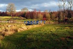 Blue wooden bridge royalty free stock image