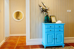 Blue wooden cabinet Stock Photos