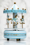Blue Wooden Carousel Horses with Old Vintage Look Royalty Free Stock Photo