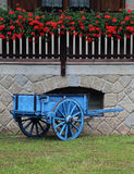 Blue wooden cart with the geranium in the farm Stock Photos