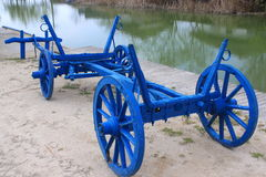Blue wooden cart Royalty Free Stock Photos