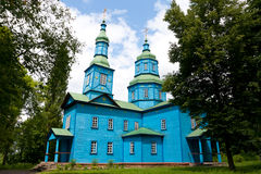 Blue wooden church Stock Images